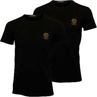 Versace 2-Pack Iconic Crew-Neck T-Shirts, Black