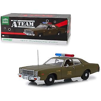1977 Plymouth Fury U.S. Army Police Army Green The A-Team (1983-1987) TV Series 1/18 Diecast Model Car par Greenlight