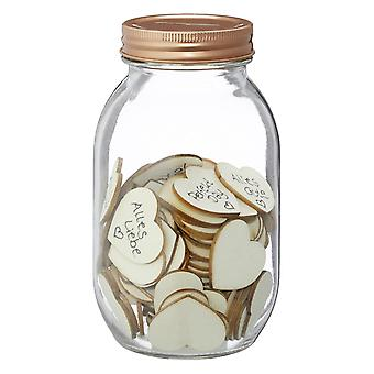 Wishglass guest book Wishing Jar, with 100 wooden hearts glass, incl. 100 wooden hearts for marking, in gift box.