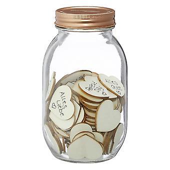 Wishglass guest book Wishing Jar, con 100 cuori di legno di vetro, compresi 100 cuori di legno per la marcatura, in scatola regalo.