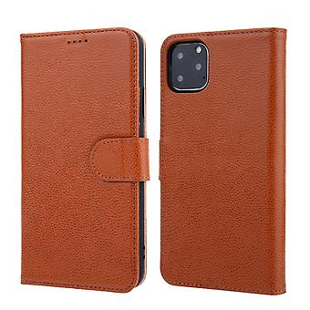 Pour iPhone 11 Pro Max Case Cowhide Genuine Leather Wallet Protective Cover Brown
