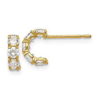 14k Yellow Gold Madi K CZ Cubic Zirconia Simulated Diamond for boys or girls Five Stone Hinged Hoop Post Earrings