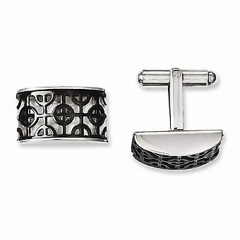 Stainless Steel Polished IP black plated Fancy Design Black Ip plated Cuff Links Jewelry Gifts for Men