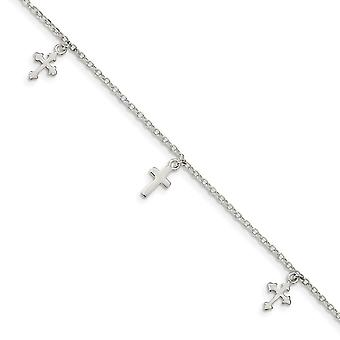1.5mm 925 Sterling Silver Polished Cross Dangle With 1in Ext Anklet 9 Inch Jewelry Gifts for Women