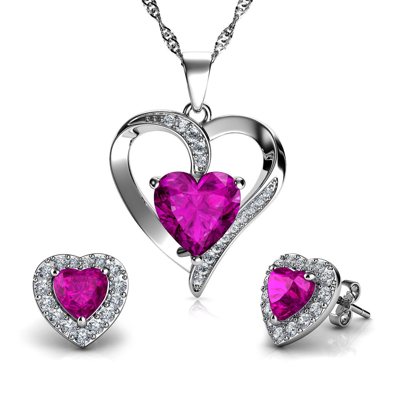 Dephini pink jewellery set red heart necklace & heart earrings silver