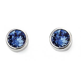 Joshua James September Birthstone Swarovski Sapphire Stud Earrings