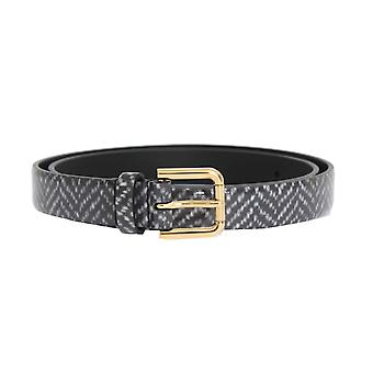 Dolce & Gabbana Gray And White Patterned Leather Gold Buckle 2 Cm Belt