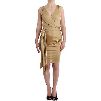 Galliano Beige Wrap Coctail Dress