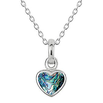 Dew Sterling Argent Dinky Paua Shell Heart Pendant 90632PA