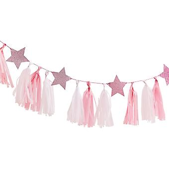 Pink Tassel Garland With Pink Glitter Stars 2m Pamper Party