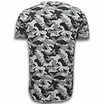 Casual Camouflage Pattern - Aired Slim Fit T-shirt - Grijs