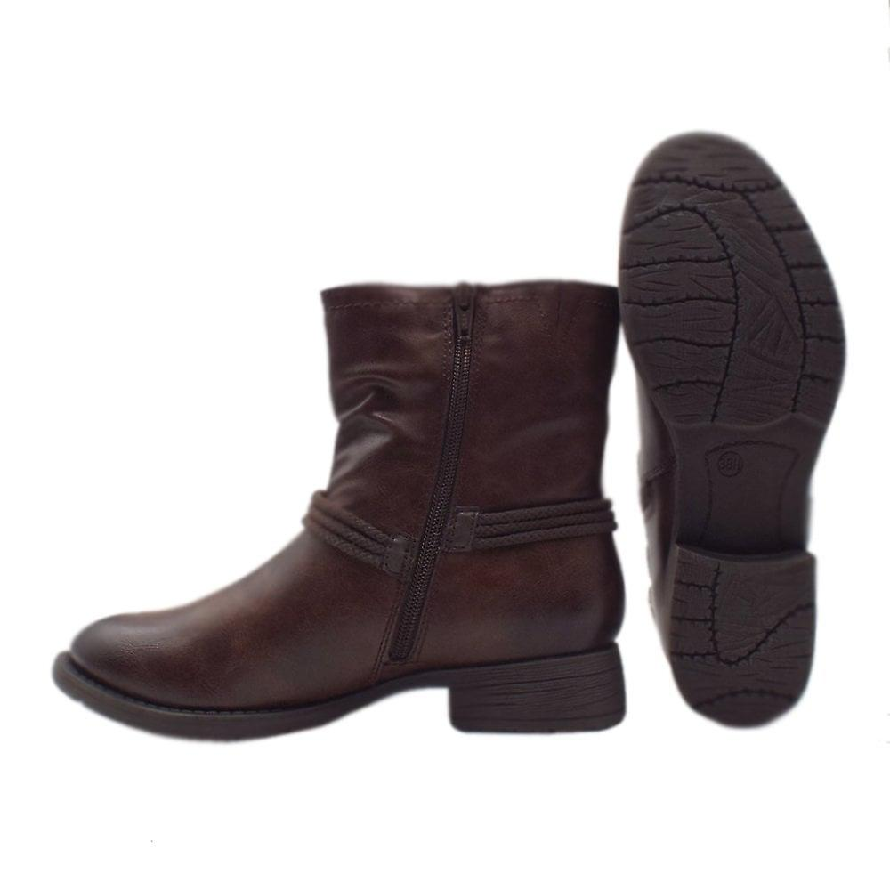 Soft Line 25461 Ancona Biker Style Wide Fit Boots In Chestnut