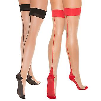 Womens Cuban Heel Stockings Thigh Highs Hosiery For Garter Belts- 2 Pack