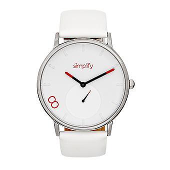 Vereenvoudig het 7200 leren-band horloge - wit