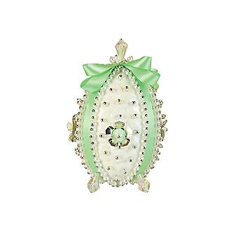 Pinflair Sequin & Pin Mint Green Carnation Faberge-Style Easter Egg