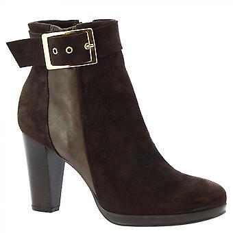 Leonardo Shoes Women's handmade heels ankle boots brown suede leather side zip