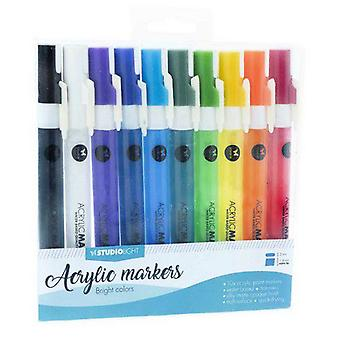 Studio Light Box 10 acrylic markers Bright Colors nr 01 AMSL01