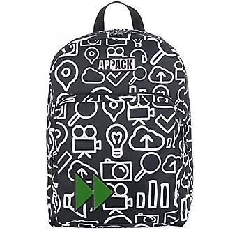 BIG round backpack -APPACK - Double compartment - Black 30Lt