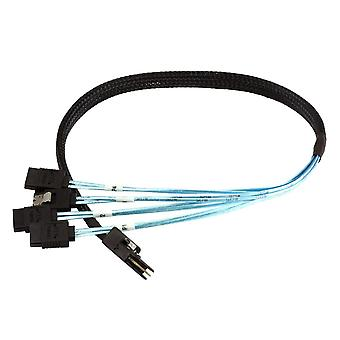 0.5m 30AWG Internal Mini SAS 36pin (SFF-8087) Male w/ Latch to SATA 7pin Female (x4) Forward Breakout Cable - Black by Monoprice