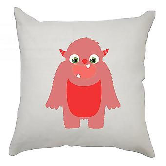 Monster Cushion Cover 40cm x 40cm - Red Monster With Horns