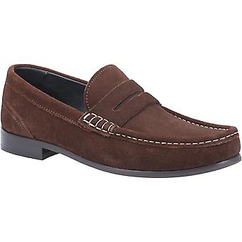 Basis Londen Mens Cassio Suede Slip Op Loafer Brown