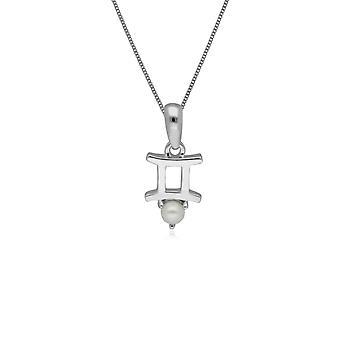Pearl Gemini Zodiac Charm Necklace in 9ct White Gold 162P0236019
