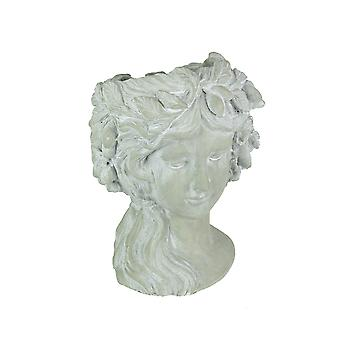 Whitewashed Concrete Classic Olive Wreath Roman Woman Head Planter 12 Inches High