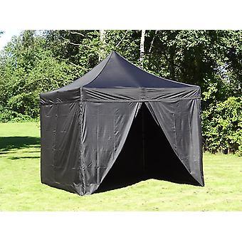 Vouwtent/Easy up tent FleXtents PRO 3x3m Zwart, Vlamvertragende, inkl. 4 zijwanden