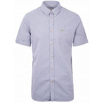 ラコステレギュラーフィッティング半袖ネイビーチェックシャツ