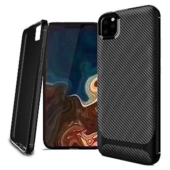 For iPhone 11 Pro Case Carbon Fiber Texture Slim Strong Soft Cover Black