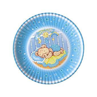 Baby Dreams Niebieski 18cm Papierowe talerze imprezowe
