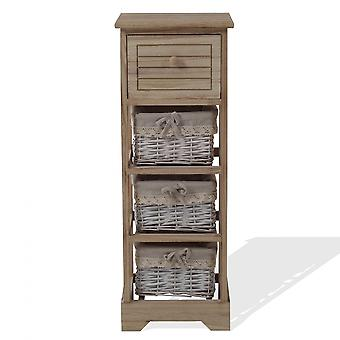 Rebecca Furniture Chest of Drawers 1 Drawer 3 Baskets Wood Wicker Rustic 81x30x27
