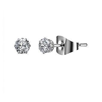 Kristalli Gümüş Küpe - 4mm