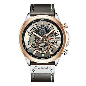 Curren Anologian Watch - Leather Strap Luxury Quartz Movement for Men - Stainless Steel - Black
