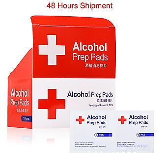 100pcs Alcohol Prep Swap Pad Wet Wipe For Antiseptic Skin Cleaning Care Jewelry Mobile Phone Glasses Clean Tool Alcohol Pads