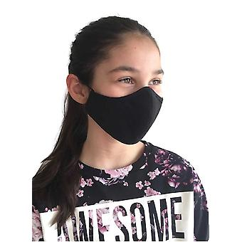 Black Washable Fabric Face Masks, For Children & Adults