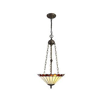 Luminosa Beleuchtung - 3 Leuchten Uplighter Deckenanhänger E27 mit 40cm Tiffany Schatten, Bernstein, Kristall, alteralter antiker Messing