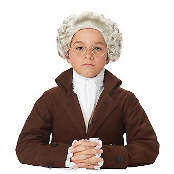 Colonial Man Peruke Judge Colonial Lawyer Barrister Grey Boys Costume Wig