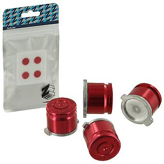 Zedlabz aluminum metal action bullet button set for sony ps4 controllers - red