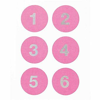 Advent Christmas Round Florescent Pink stickers Numbers 1 -24
