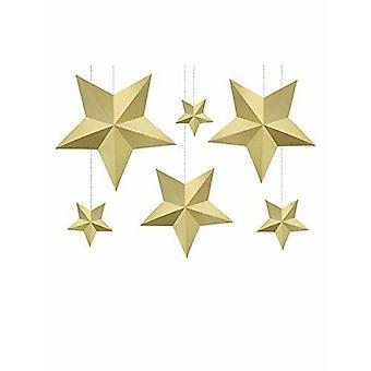 Gull hengende papir Star DIY dekorasjoner bryllup Christmas Party x 6