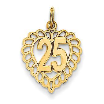 14k gul guld Satin poleret funkle-Cut 25 i en hjerte charme - 1,0 g - foranstaltninger 22.9x15.2mm