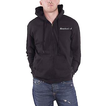 Hawkwind Hoodie Doremi Silver Band Logo  new Official Mens Black Zipped