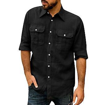 Allthemen الرجال & apos;ق عارضة فضفاضة تناسب قميص طويل الأكمام لابيل الصلبة خفيفة الوزن الأعلى