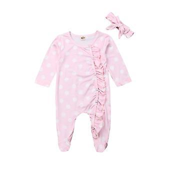 nyfødte baby jenter floral dot klær, footies, jumpsuit, langermet antrekk