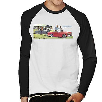 Austin Healey Sprite Mk II Race Day British Motor Heritage Men's Baseball Long Sleeved T-Shirt