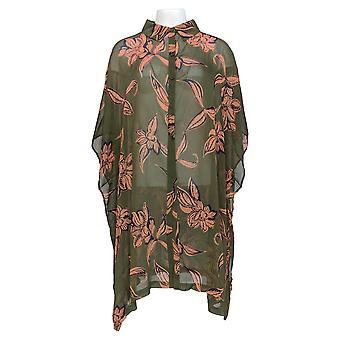G by Giuliana Women's Plus Top 2X Printed Sheer Chiffon Tunic Green 694-915