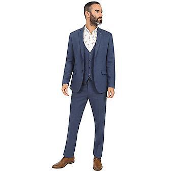Jenson Samuel Lincoln Navy Blue Herringbone Three Piece Suit Blazer