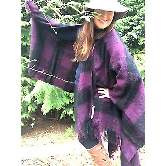 Belle Divino Quality Checked Stylish Poncho Warm Winter Purple / Black