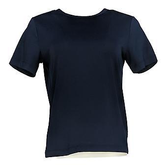 Susan Graver Women's Top Essentials Butterknit Short Sleeve Blue A96742